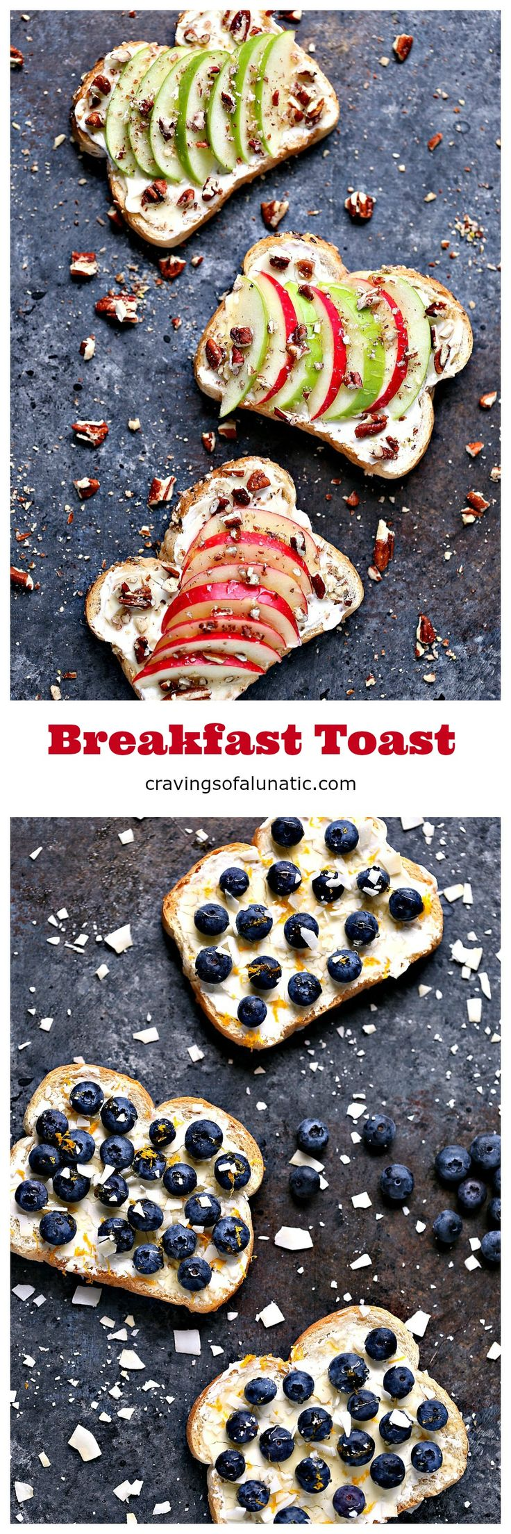 Breakfast Toast- 4 Ways: Breakfast Toast with Cantaloupe, Pistachios, and Honey. Breakfast Toast with Apples, Pecans, and Honey. Breakfast Toast with Raspberries, Coconut, and Honey. Breakfast Toast with Blueberries, Coconut Chips, and Honey. Visit cravingsofalunatic.com for more great recipes. #sponsored #EHYWTF