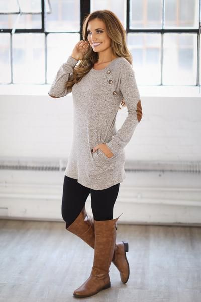 Right Here All Along Tunic - Taupe
