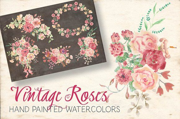 Watercolor sprays: vintage roses by Lolly's Lane Shoppe on @creativemarket