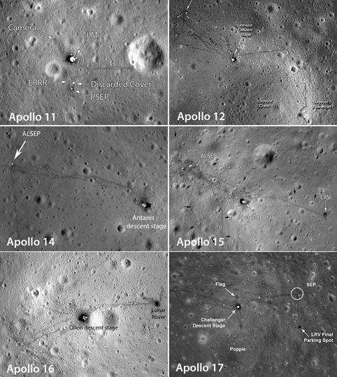 Photos of each of the six Apollo landing sites photographed from low orbit by NASA's Lunar Reconnaissance Orbiter. ALSEP stands for Apollo Lunar Surface Experiments Package. The astronauts' tracks as well as the rover and other items are plainly visible.