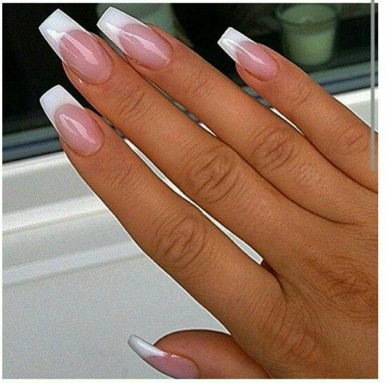 Pink and White coffin nails