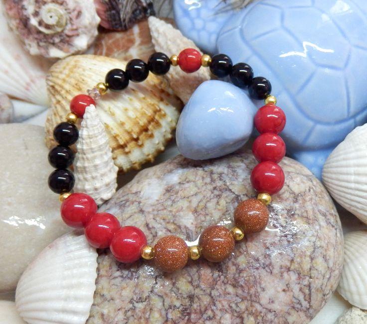 Sluneční kámen Onyx Red tyrkys http://1url.cz/@koralky