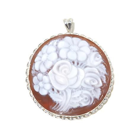 """Shop AMEDEO """"Giardino di Fiori"""" 40mm Bouquet Cameo Sterling Silver Pin/Pendant 8032234, read customer reviews and more at HSN.com."""