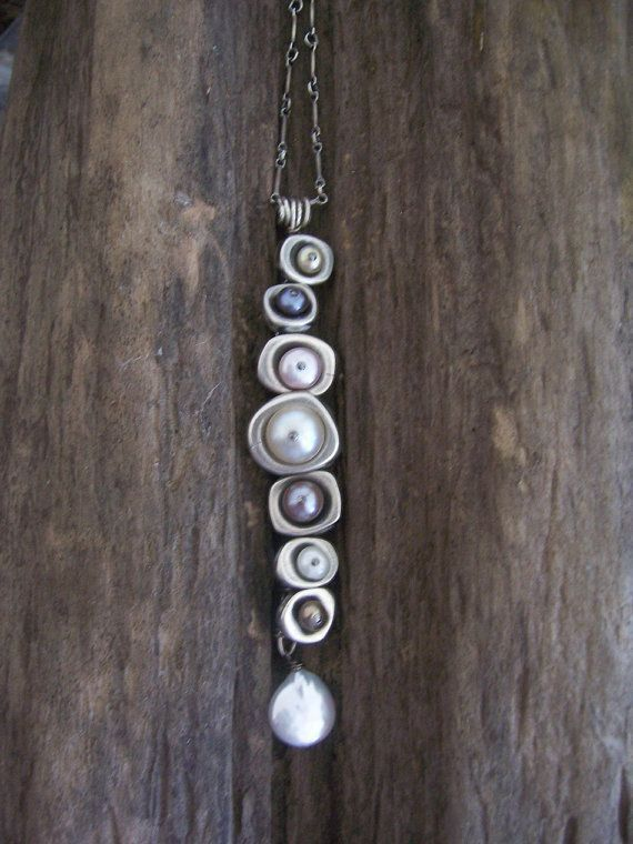 Vertebrae Pendant, Hand Forged Sterling Silver and Fresh Water Pearl Necklace, DNA Jewelry, Nature Inspired Jewelry.