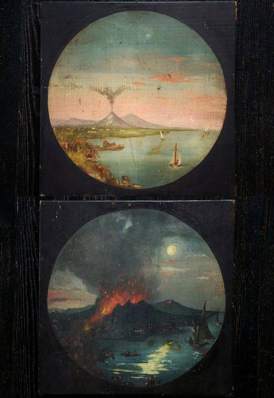 "Mythology of Blue : Unknown artist - Mount Vesuvius, ""magic"" lantern..."