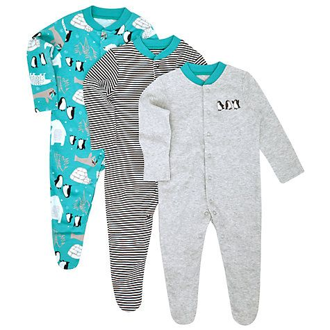 Buy John Lewis Baby Arctic Sleepsuits, Pack of 3, Blue/Grey Online at johnlewis.com
