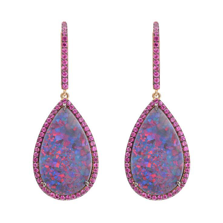 Black #opal and pink #sapphire drop earrings, @Betteridge1897