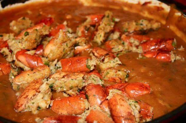 Crawfish bisque with stuffed heads