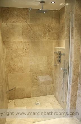 Alcove showering - I like the idea, and I like the stone colour