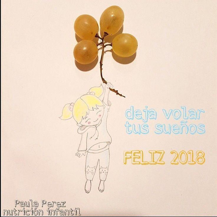 Uvas globos niña volando. Uvas fin de año. Feliz 2018. Feliz año nuevo. Deja volar tus sueños. Dibujo infantil. Nutricion infantil. #nutricioninfantil