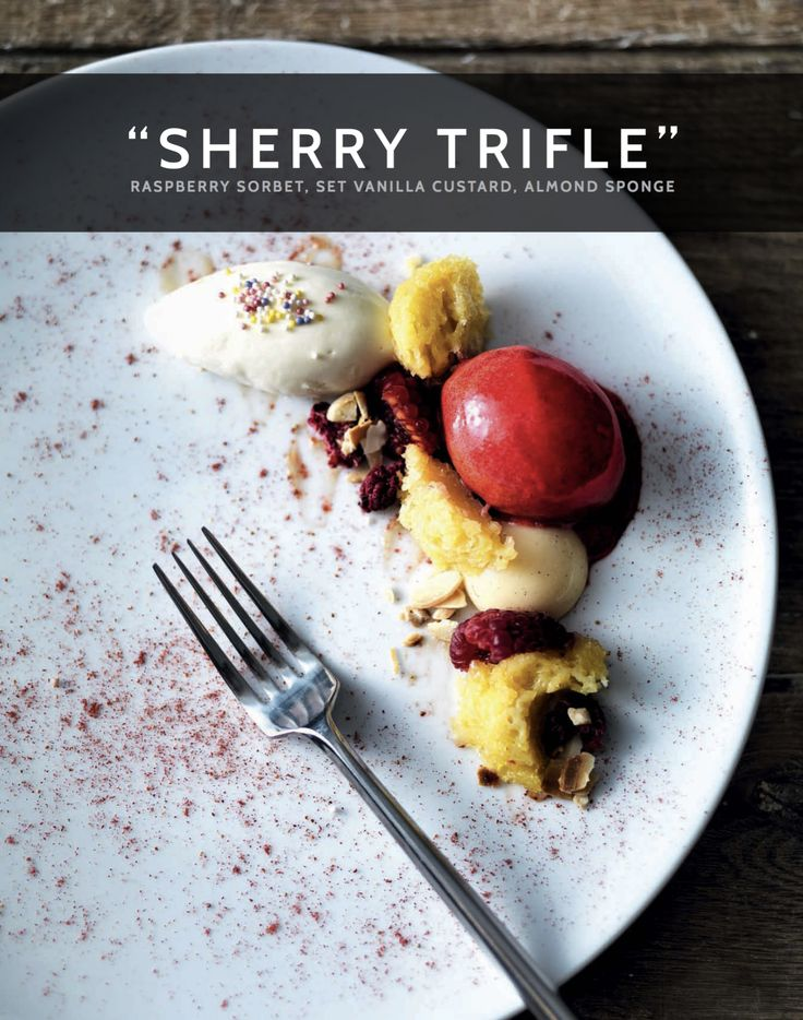 A traditional Christmas sweet treat, our recipe for Sherry Trifle with Raspberry Sorbet, Set Vanilla Custard and Almond Sponge is sure to delight over the festive period #madeinmyMiele