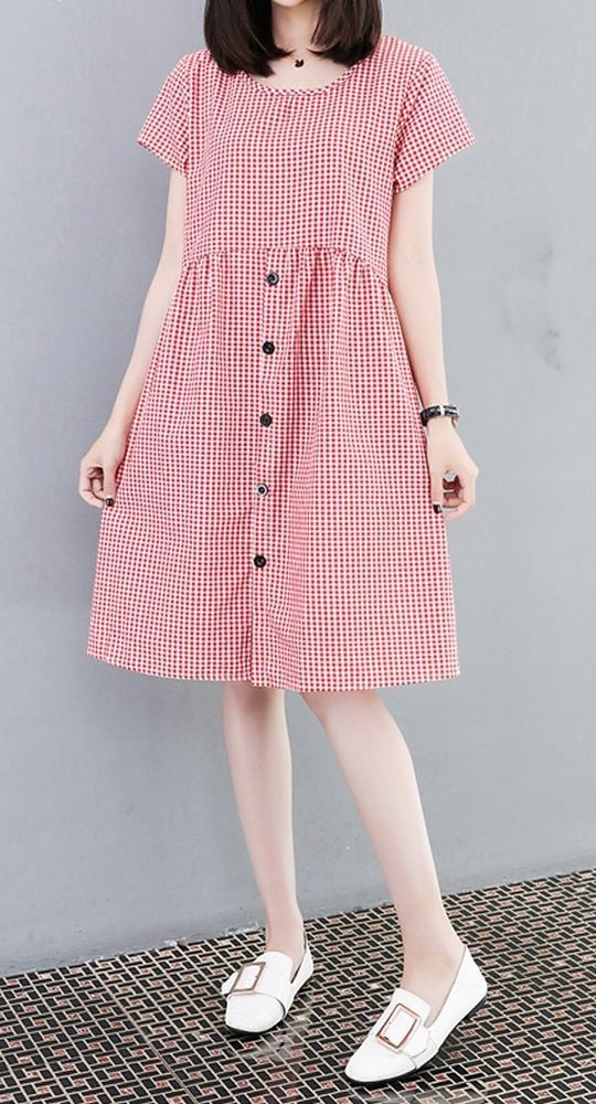 Details about Women loose fit checkered dress short sleeve large size pocket tunic casual chic – #casual #checkered #Chic #Details #dress