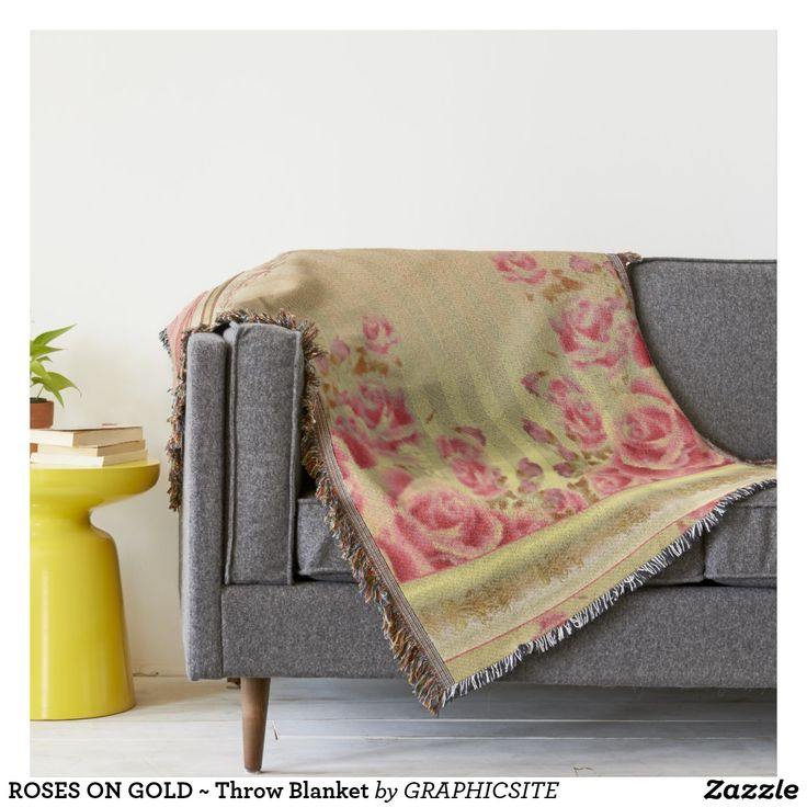 ROSES ON GOLD ~ Throw Blanket