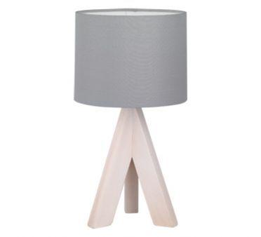 Lampe de Chevet Bois Agathe abat jour gris