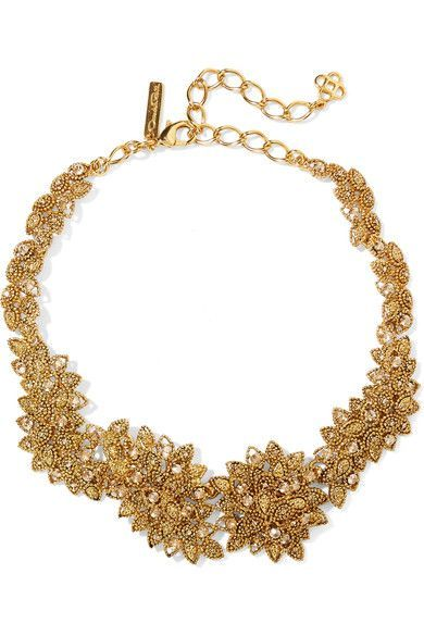 Oscar de la Renta - Gold-plated Swarovski Crystal Necklace - one size