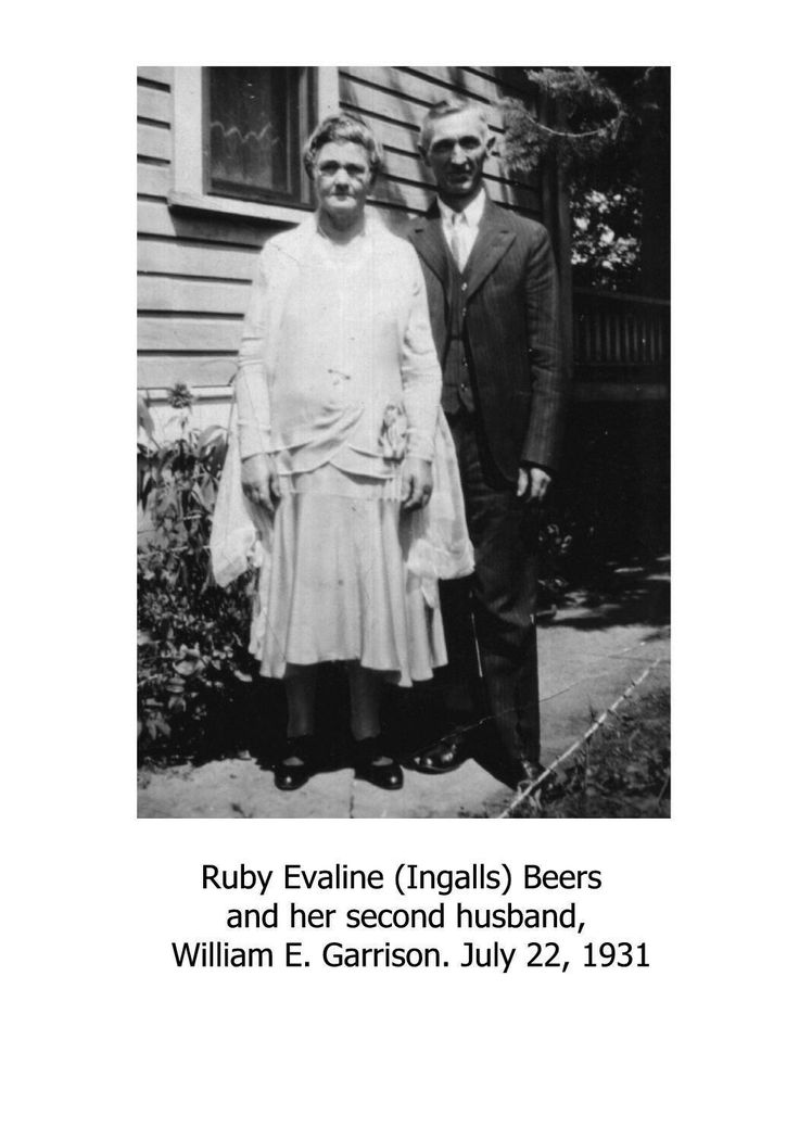 Ruby Ingalls Beers and her second husband William Garrison.