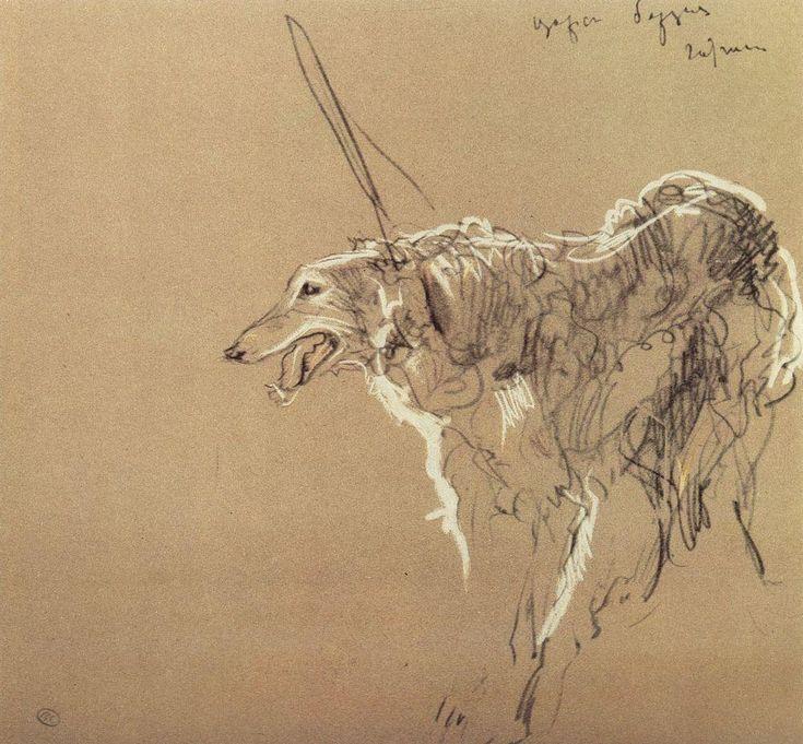 Valentin Serov, Борзая царской охоты (Tsar's borzoi hunting)