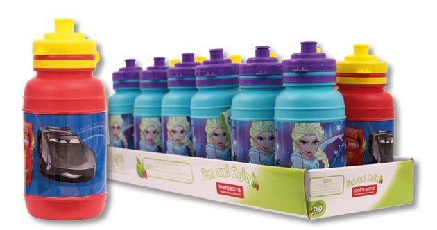 Sports Bottle, de Bip Candy & Toy: Cantimplora de plástico con 10 g de golosinas 100% naturales. Hay dos modelos distintos para coleccionar de las licencias Cars y Frozen.