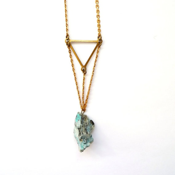 blue chrysocolla stone necklace with brass triangle. via etsy.    love the design!