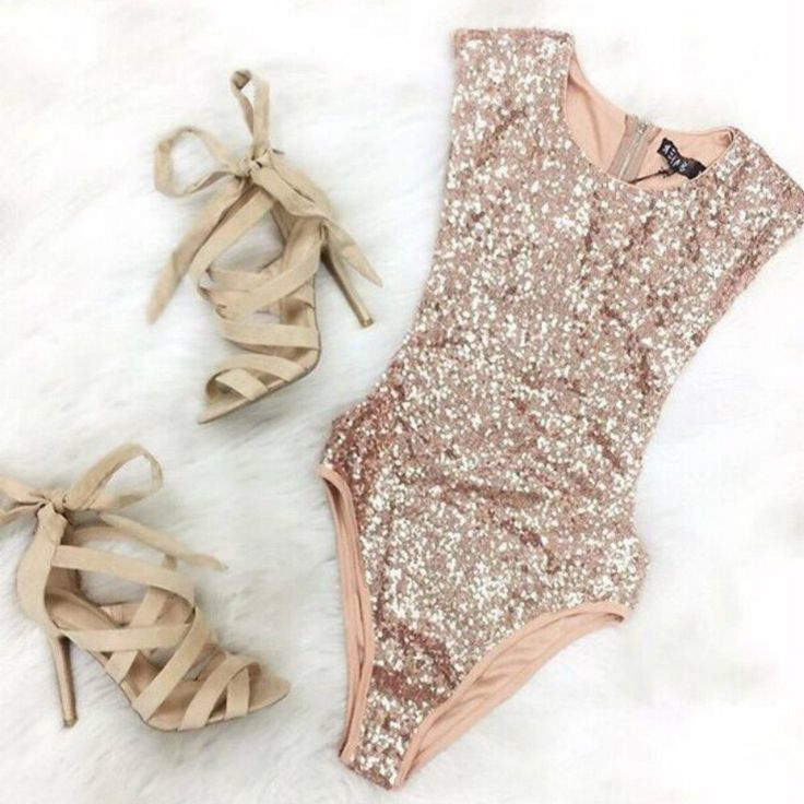 ♡ Sequined Jumpsuit Jumpsuit Sleeveless Bodycon Leotard ♡
