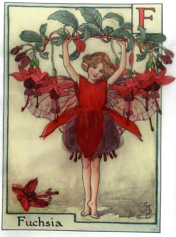 The Fuchsia Fairy from Cicely Mary Barker's Flower Fairies, embroidered
