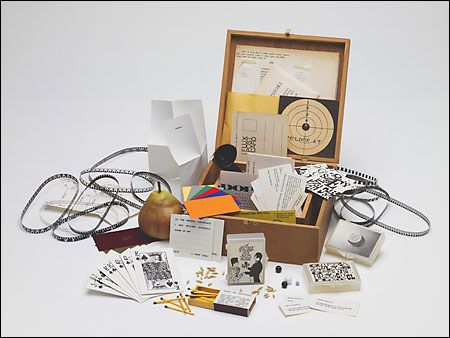 Flux Year Box 2, c.1967, a Flux box edited and produced by George Maciunas, containing works by many early Fluxus artists.