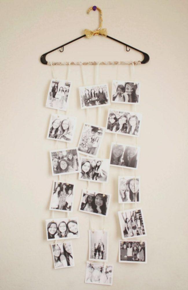 Vintage fotocollage selber machen wanddeko kleiderbuegel wand haengend schwarz