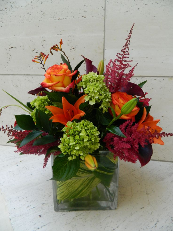 Astilbe, lily, hydrangea--Love, love fall!  by Plants and Things Floral Design