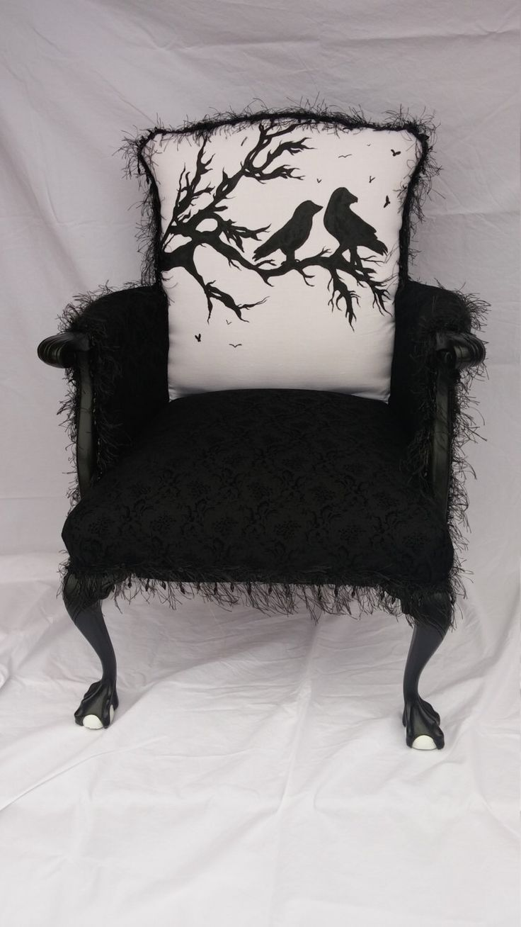 Accent Chair - Large Overstuffed Upholstered Black Raven Silhouette Accent Chair with Claw Foot Accent and Velvet Victorian Fabric by GreenThumbEtc on Etsy https://www.etsy.com/listing/260210786/accent-chair-large-overstuffed
