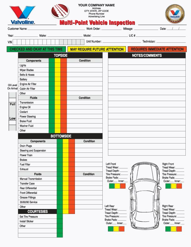 4 Part Multi-Point Vehicle Inspection Forms