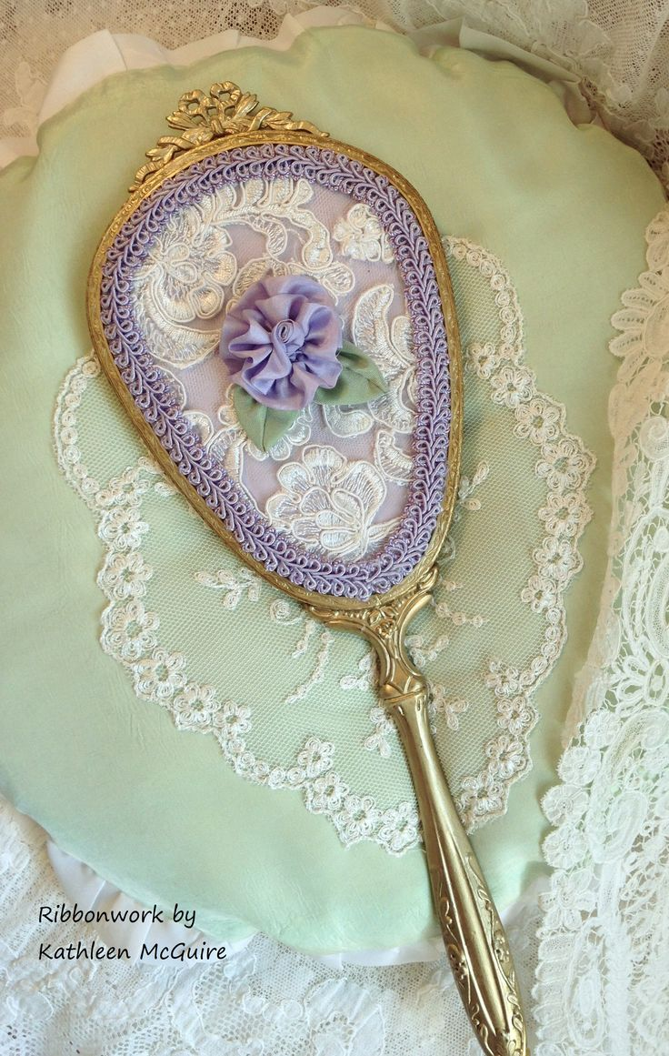 Vintage Mirror Back Covered With Alencon Lace Braid Trim