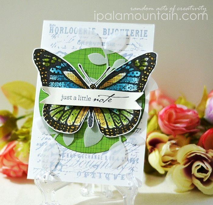 Card created with Darkroom Door Patchwork Butterfly Collage Stamp. http://www.darkroomdoor.com/collage-stamps/collage-stamp-patchwork-butterfly
