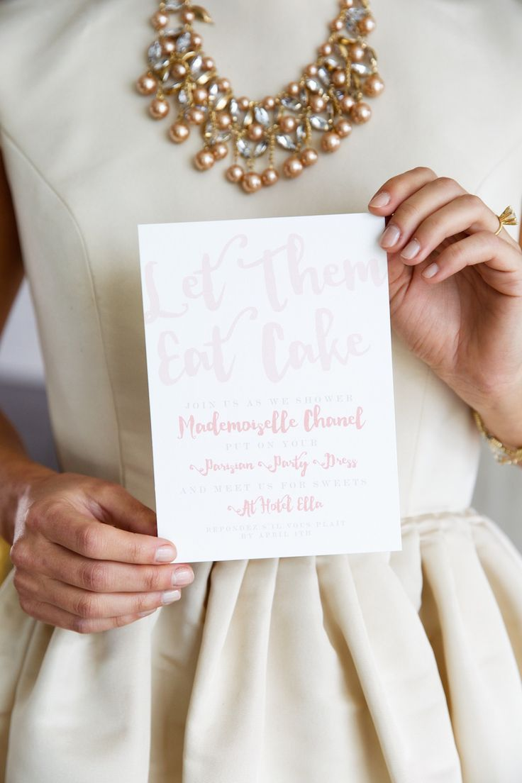 """French-themed bridal shower invitation idea - """"Let them eat cake"""" invitations with white + watercolor pink details {Courtesy of Camille Styles}"""