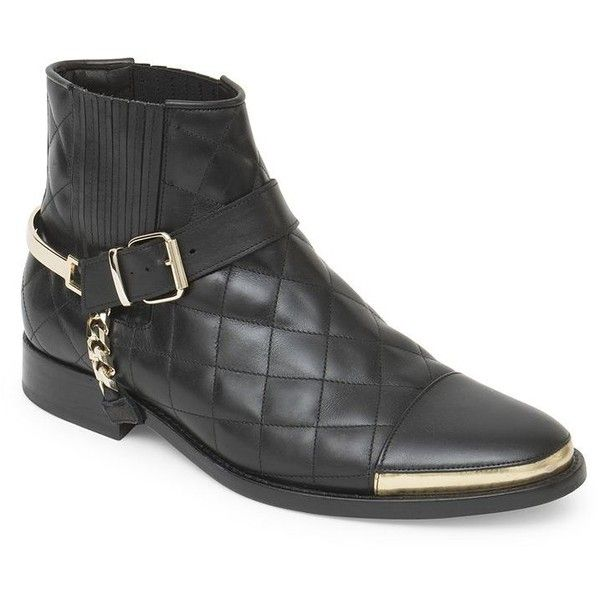 Balmain Quilted Leather Boots : Balmain Shoes ($1,200) ❤ liked on Polyvore featuring men's fashion, men's shoes, men's boots, apparel & accessories, black, balmain mens boots, mens black boots and mens black shoes