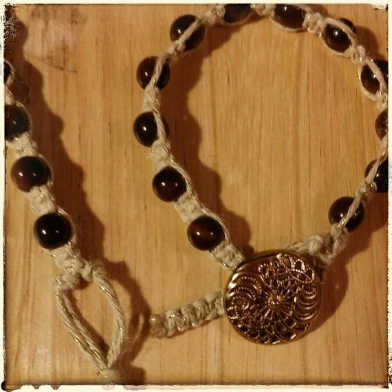 Tagua Bead with Hemp Macrame weaved bracelet 24K by Panache808, $25.00