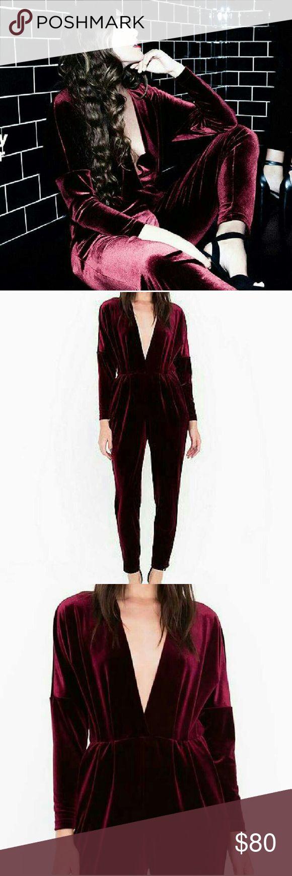 Adelyn venture velvet jumpsuit Velvet burgundy. Size xsmall brand new American Apparel Other