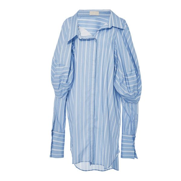 MONSE Monse Stripe Long Shirt ($1,150) ❤ liked on Polyvore featuring tops, blue, stripe top, long sleeve shirts, striped shirt, long shirts and blue stripe shirt
