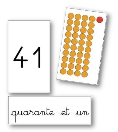 Cartes sur les nombres jusqu'à 99 (perles Montessori) - graines de livres