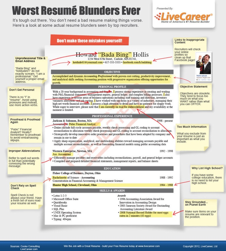 resume blunders - Towerssconstruction