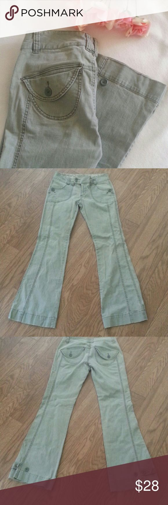 "American Eagle Canvas Pants 4 Very good condition  Size 4 Greenish gray color Waist 30.5"" Hips 36"" Inseam  31"" One bottom at inside one is missing but not affecting the waist closer American Eagle Outfitters Pants Trousers"