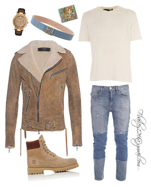 Untitled #797 by fbailey126 on Polyvore featuring polyvore, Love Moschino, Timberland, Gucci, Fendi, Versace, men's fashion, menswear and clothing