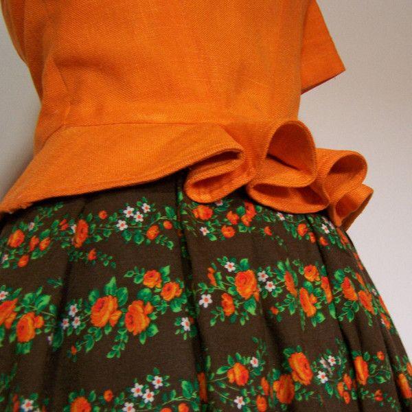 Dirndl Zweiteiler, orange braun, Gr. 40/M