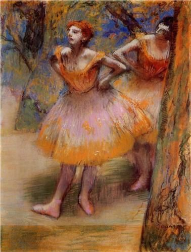 Two Dancers by Edgar Degas (French, Post-Impressionism, 1834–1917) http://www.wikipaintings.org/en/edgar-degas/two-dancers-1