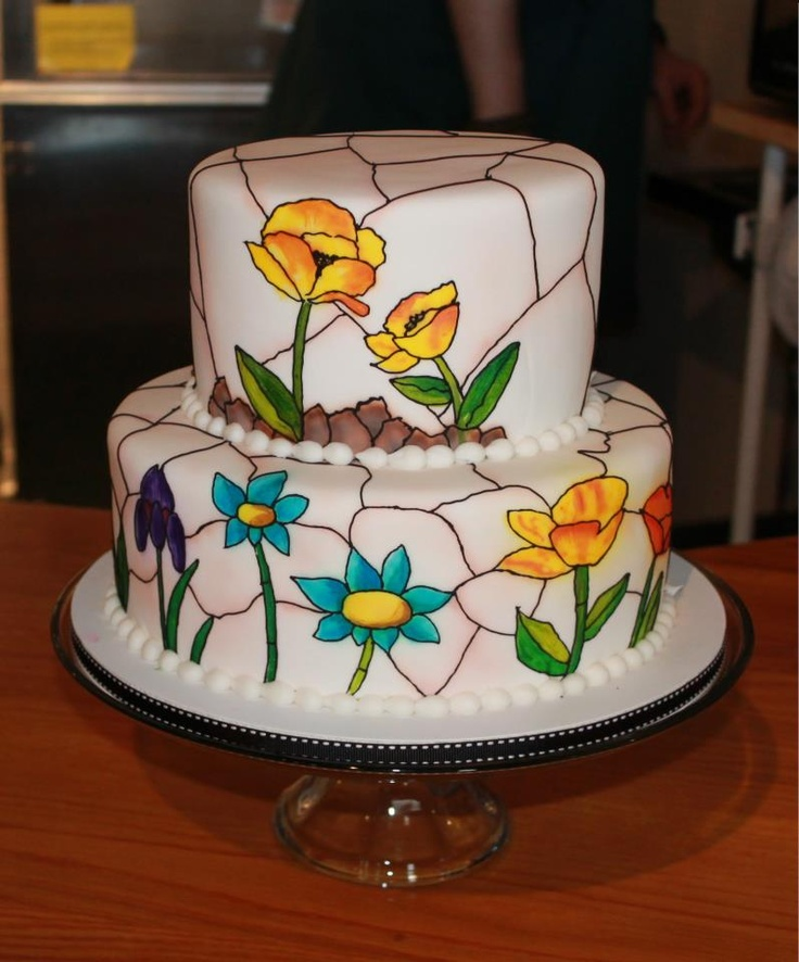167 best stained glass cakes images on Pinterest  Glass