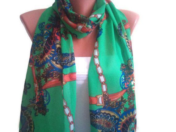 Beautiful Green scarf Multicolor scarf TrendyScarf by TrendyScarf, $12.99