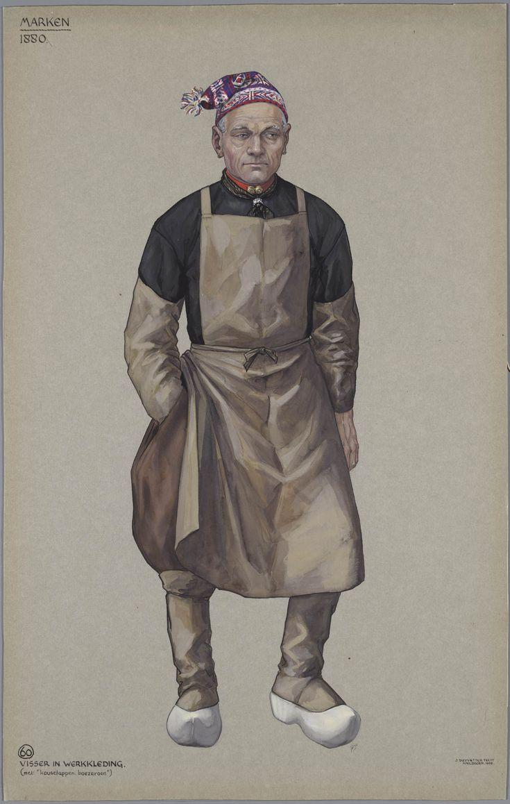 Marken, 1880. Visser in werkkleding (met 'kouselappen, boezeroen'). Jan…