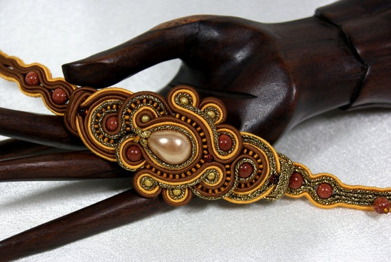 Soutache Bracelet - Honey / yellow, brown, old gold  from BeadsRainbow on Etsy