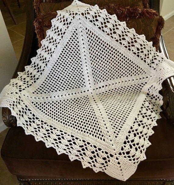Crochet Plaid doily baby blanket,