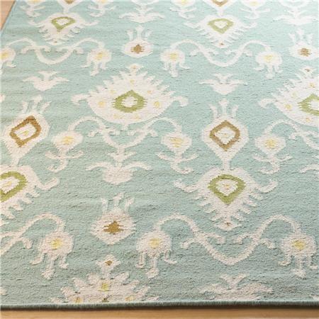 ikat pattern dhurrie rug aqua or beige