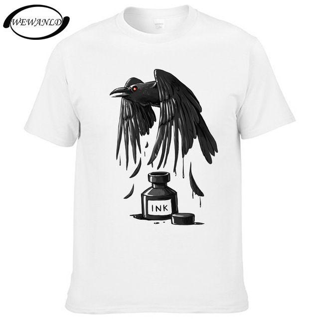 2017ファッションメンズtシャツレイヴン/ドラゴン/クジラ/イーグル/猫インク夏男性カジュアル半袖tシャツヒップスター青年tシャツ